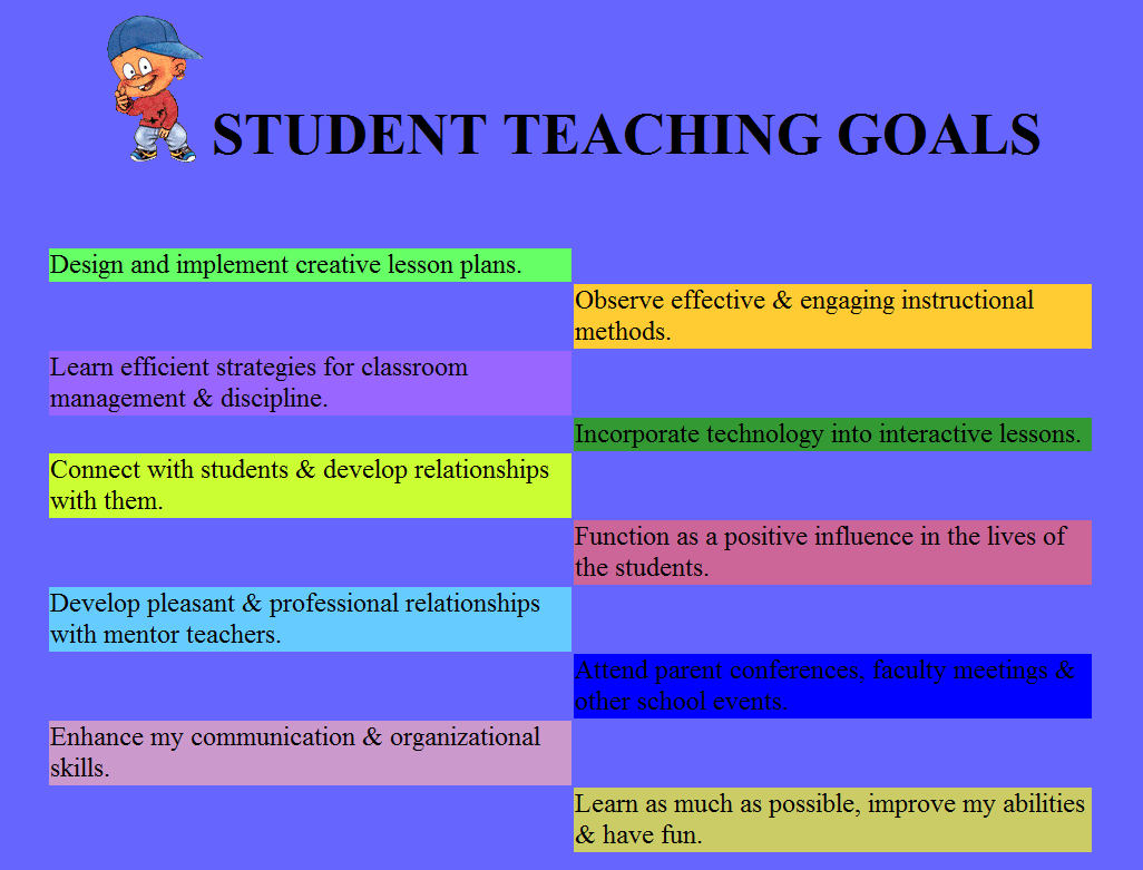 Student Teaching Goals Anne Crisler Student Teaching